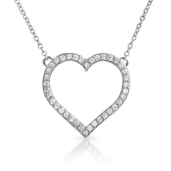 925 Silver Cubic Zirconia Hollow Heart Necklace