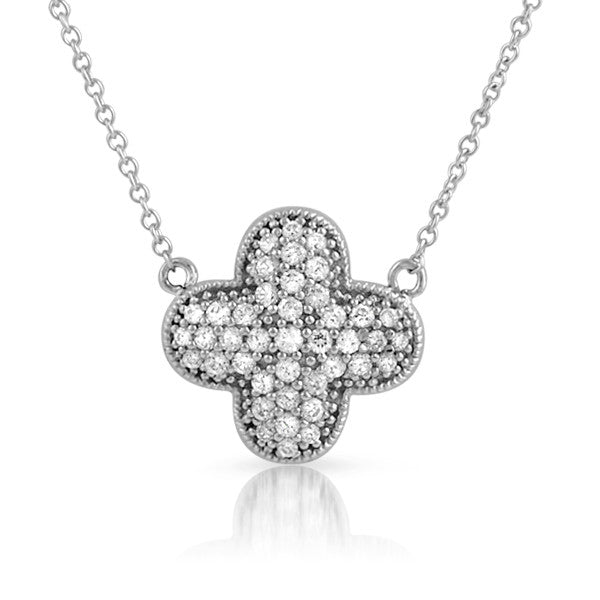 Sterling Silver Signity CZ Cushion Cross Necklace