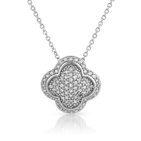 Sterling Silver Signity CZ Micropave Cushion Necklace