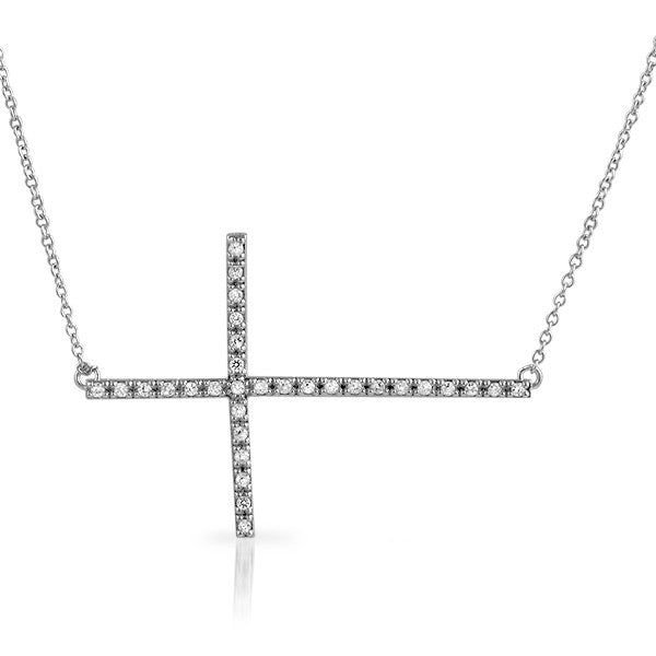 Sterling Silver Signity CZ Horizontal Cross Necklace