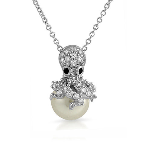 925 Silver Synthetic Pearl Octopus CZ Necklace