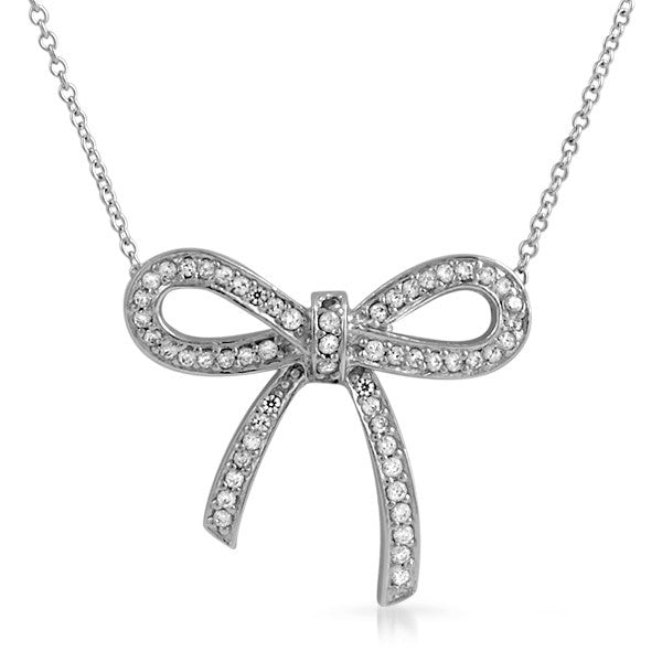 Sterling Silver Signity CZ Ribbon Fashion Necklace
