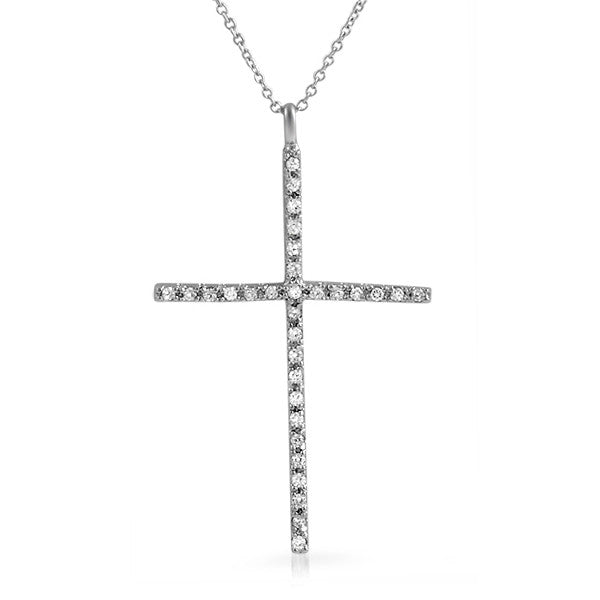 Sterling Silver Signity CZ Skinny Cross Necklace