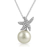 925 Silver Signity CZ Dancing Starfish Pearl Necklace