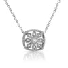 Sterling Silver Fancy Cubic Zirconia Pendant Necklace