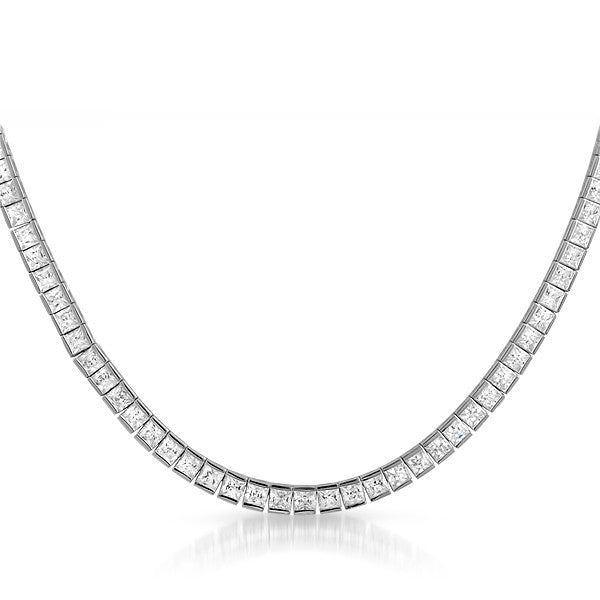 Sterling Silver Flawless CZ Channel Set Tennis Necklace