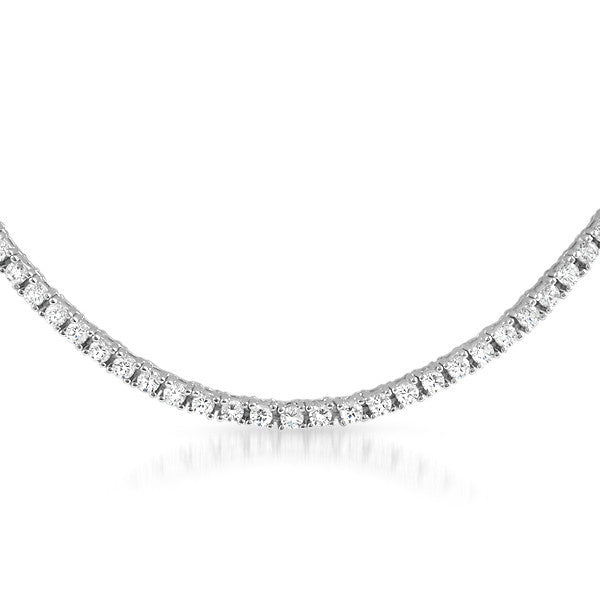 Sterling Silver 4.80 CTW Cubic Zirconia Tennis Necklace