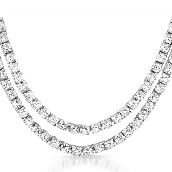 White Gold Finish Simulated Diamond 36 inch Necklace