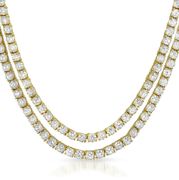 18k Gold Finish Cubic Zirconia Double Wrap Necklace