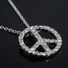 Sterling Silver Signity CZ Peace Sign Necklace