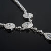 Sterling Silver Faux Diamond Fancy Medallion Necklace