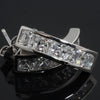925 Silver Princess Cut Semi-Hoop CZ Earrings