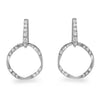 Sterling Silver Modern Curved Circle Drop Earrings