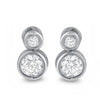 Sterling Silver 1.02 CTW 2 Stone Bezel Set Earrings