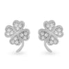 Sterling Silver CZ Lucky 4 Leaf Clover Stud Earrings