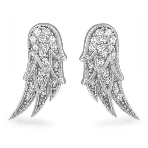Sterling Silver Angel Wings Cubic Zirconia Earrings