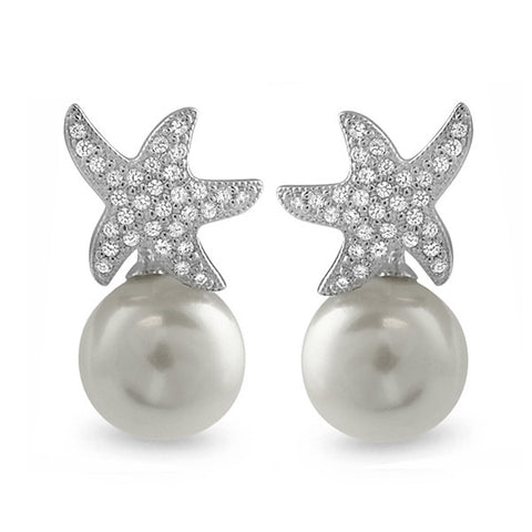 925 Silver Dancing Starfish CZ Pearl Earrings