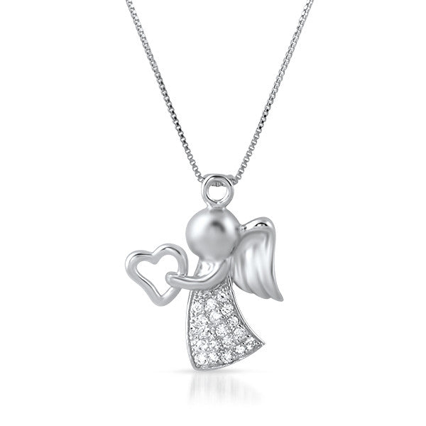 Sterling Silver Cubic Zirconia Angel Necklace