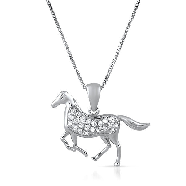Sterling Silver CZ Horse Pendant Necklace Set