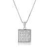 Sterling Silver Micropave CZ Square Pendant Set