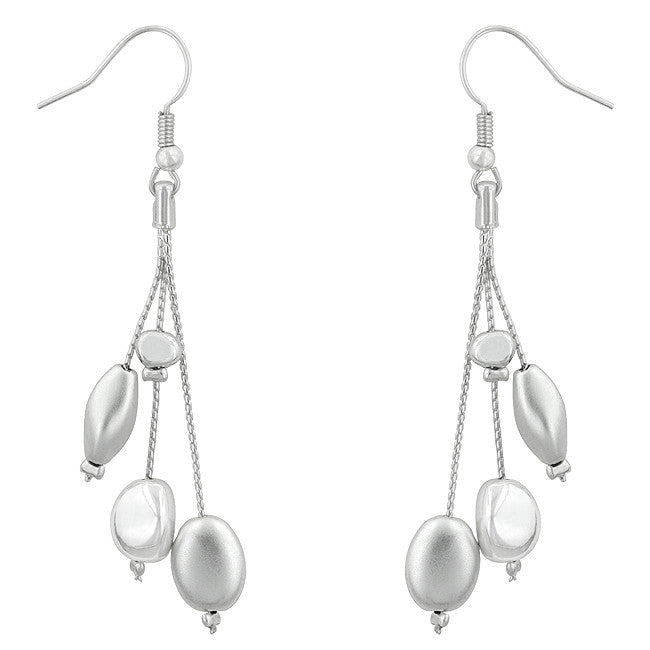 Silver Tone Chic Beads Drop Earrings