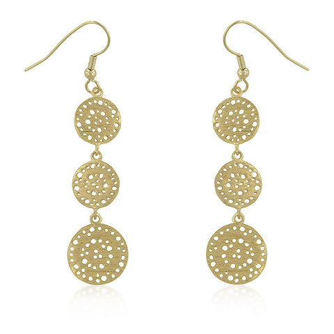 18K Gold Tone Filigree Fish Hook Earrings