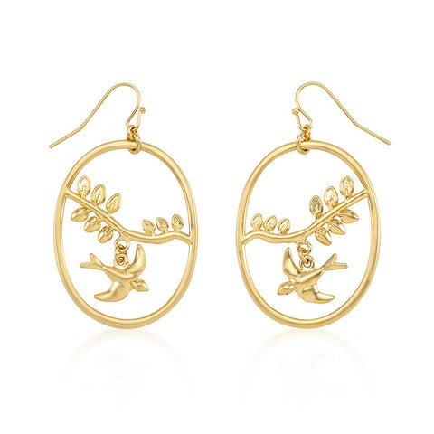 18K Matte Gold Oval Dove Earrings