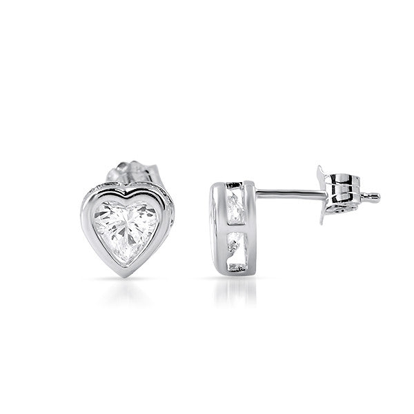 2.30 CTW Heart Cut CZ Bezel Earrings