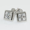 1.40 CWT 5mm Princess Cut Square Bezel Studs