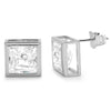 4.00 CTW Silver Bezel Set Princess Cut CZ Earrings