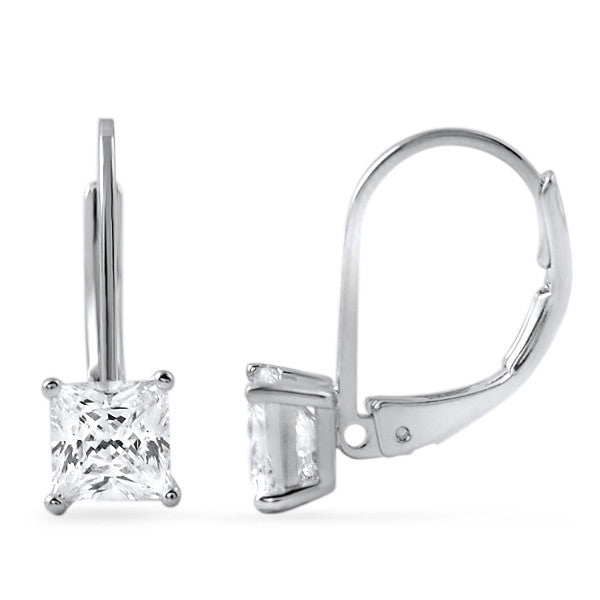 1.40 CTW Princess Cut CZ Leverback Earrings
