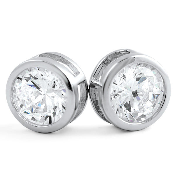 2.5 CTW Bezel Set Round CZ Stud Earrings