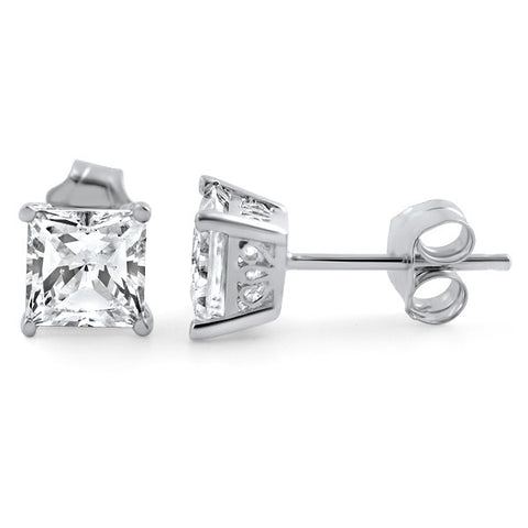 1.40 CTW Princess Cut CZ Studs Floral Setting