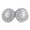 925 Silver Bezel Set Simulated Diamond Halo Earrings