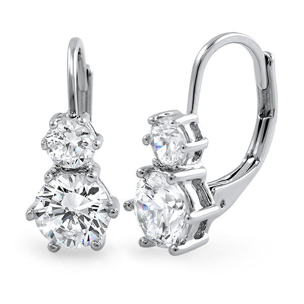 2.18 CTW Silver Two Stone Leverback Earrings