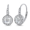 6mm Round 5A CZ Bezel Set Halo Leverback Earrings