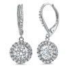 925 Silver Fancy Halo Style Drop Earrings Leverback
