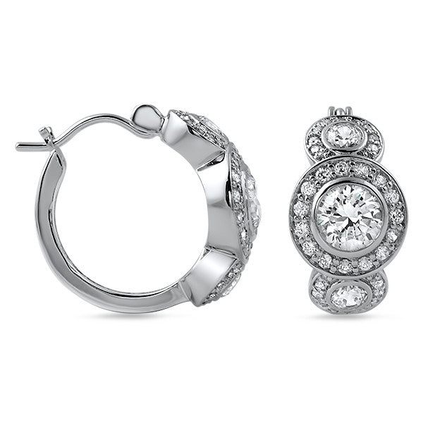 Simulated Diamond 3 Stone Halo Hoop Earrings