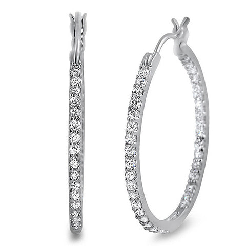 22mm Silver Simulated Diamond Skinny Hoop Earrings