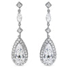 Elegant Pear Shaped Halo CZ Drop Earrings