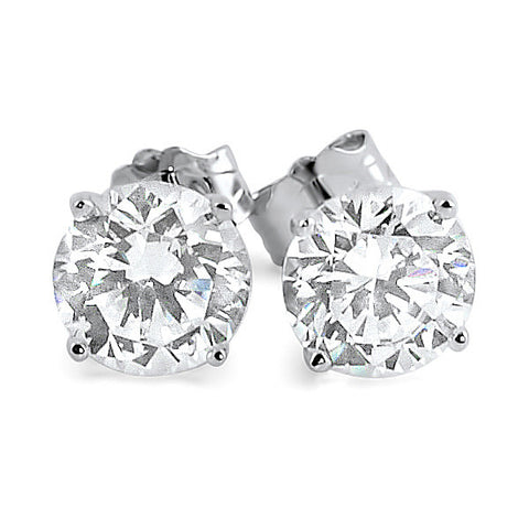 1.68 CTW Silver Simulated Diamond Round Studs