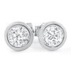0.92 CTW Silver Martini Bezel Set CZ Stud Earrings