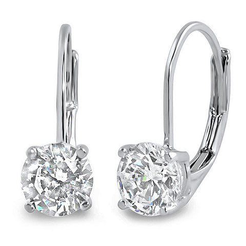 1.68 CTW 5A CZ Solitaire Silver Leverback Earrings