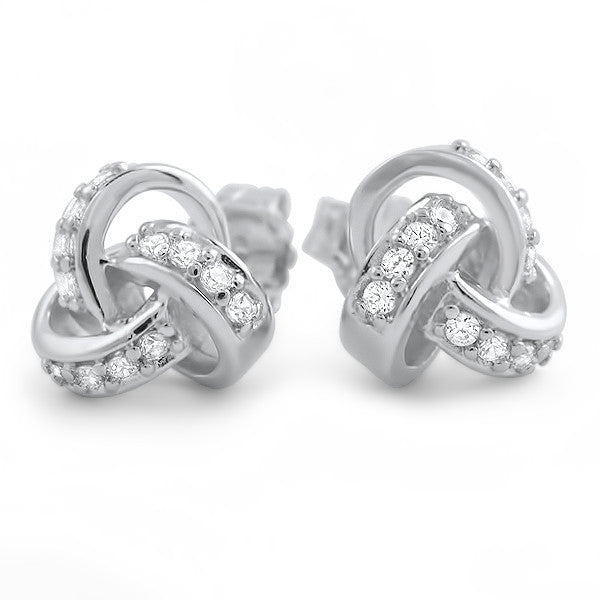 925 Silver Signity CZ Love Knot Earrings