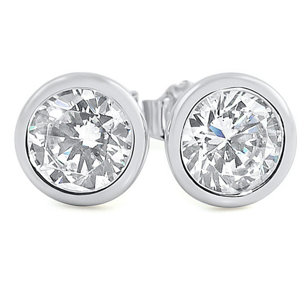 2.06 CTW Silver Martini Bezel Set CZ Stud Earrings