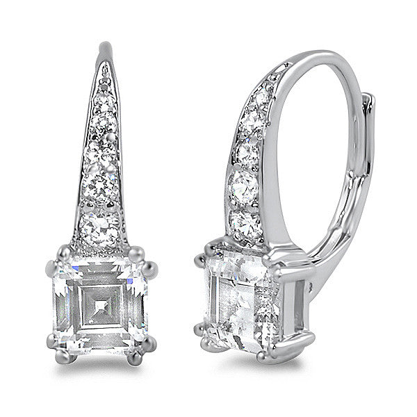 2.5 CTW Asscher Cut CZ Leverback Drop Earrings