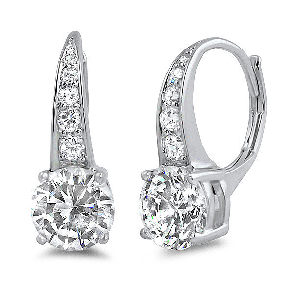 4.48 CTW Round Brilliant CZ Leverback Drop Earrings