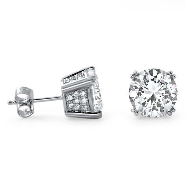 2.5 Carat CZ Silver Stud Earrings With Pave Setting