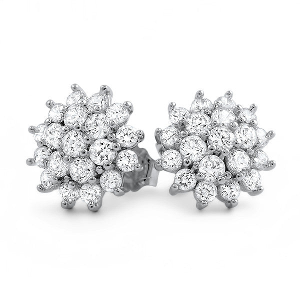 1.4 CTW Simulated Diamond Flower Earrings