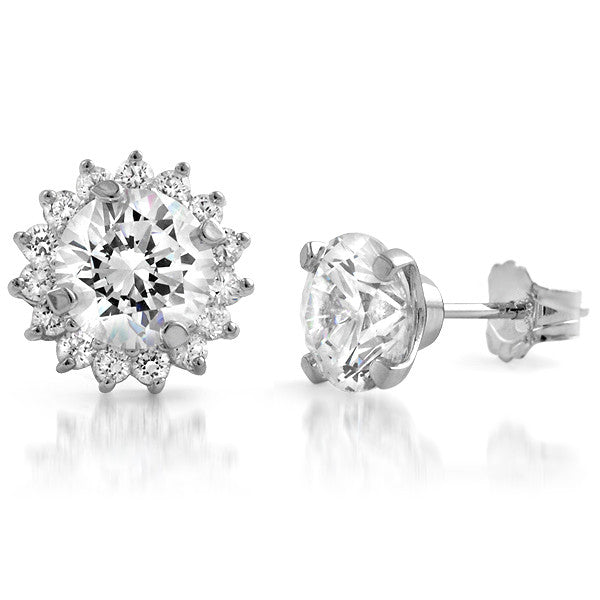 2.80 CTW CZ Stud Earrings With Removable Halo